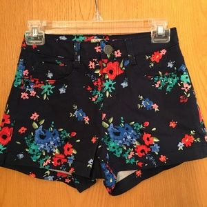 Floral Print High Waisted Shorts